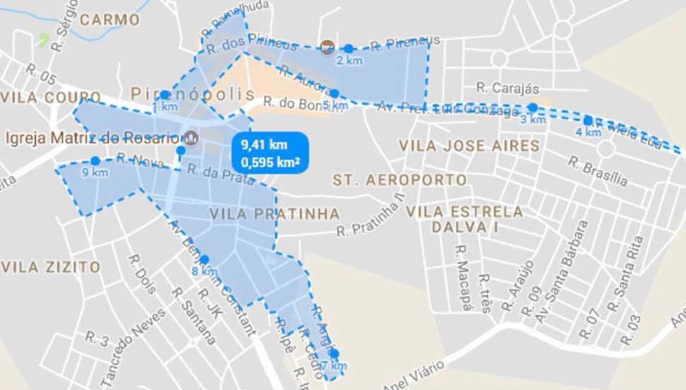 Percurso de 10 Km - 2ª Corrida da Solidariedade – Academia Ennergia em Pirenópolis