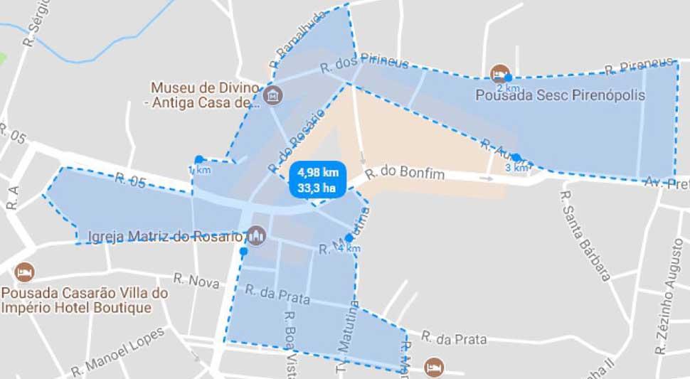 Percurso de 5 Km - 2ª Corrida da Solidariedade – Academia Ennergia em Pirenópolis