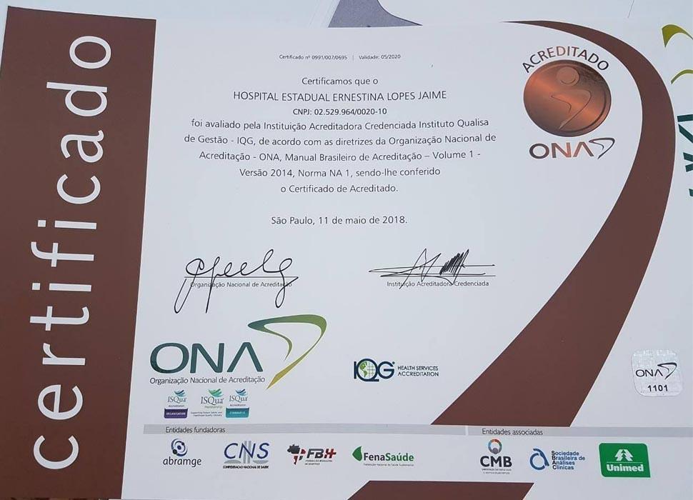 Hospital Ernestina Lopes Jaime recebe certificado de qualidade em segurança do paciente