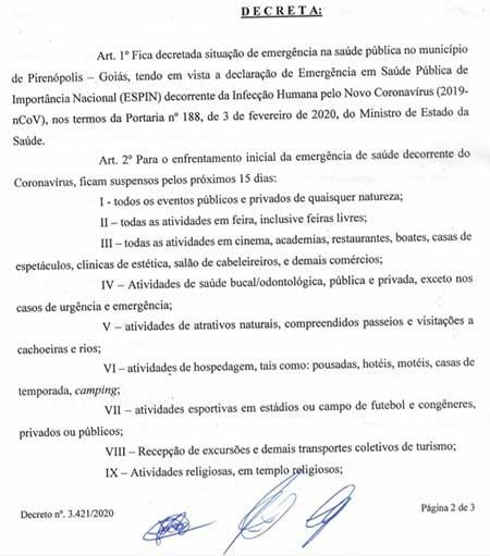 A ação tem o objetivo evitar a propagação do coronavírus em Pirenópolis.